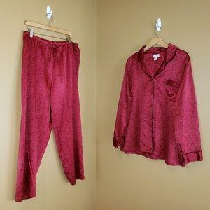 Cabernet XL Red with Rose's satin pajamas